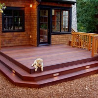 Photo Thumbnail #2: Redwood deck feature step lighting.  Dog is not...