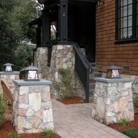Photo Thumbnail #1: Stone pillars with Arroyo lighting fixtures...