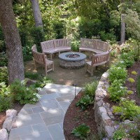 Photo Thumbnail #2: Stone firepit with gas insert. Lights with the...