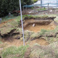 Photo Thumbnail #6: Sod has been piled at the top end in a circular...