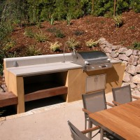 Photo Thumbnail #1: Outdoor kitchen features cast concrete...