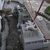 Photo Thumbnail #6: Laying out the wall. The cinder blocks will be...