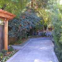 Photo Thumbnail #5: Side yard. Stamped concrete is colored with...