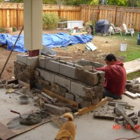 Photo Thumbnail #7: Installation of the stone veneer  There is a...