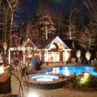 Photo Thumbnail #1: Night view of our pool area.