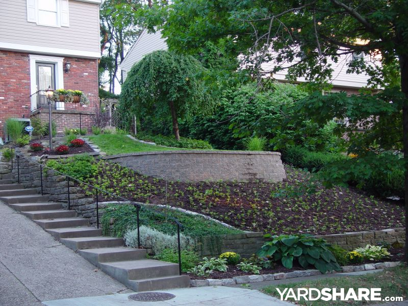 Landscaping ideas front yard slippery slope solution for Garden designs on a slope