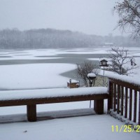 Photo Thumbnail #2: the lake is frozen and covered with early snow...