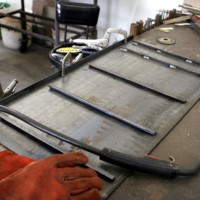 Photo Thumbnail #4: Assembling the side panel. The 1/4 inch angle...