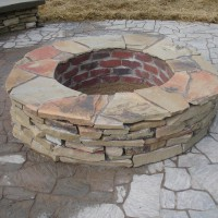 Photo Thumbnail #5: firepit; made from cinder-block, then faced...