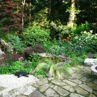 Photo Thumbnail #5: Pond with sitting area and firepit.