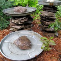 Photo Thumbnail #12: Stone Stacked Bird Baths Made with Repurposed...