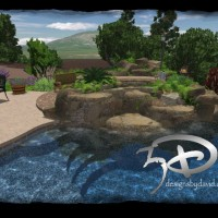 Photo Thumbnail #3: rock waterfall design, pool, swimming pool in...