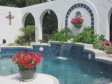 Pool Landscaping with Shapes and Colors