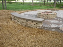 Stacked Stone Built In Bench
