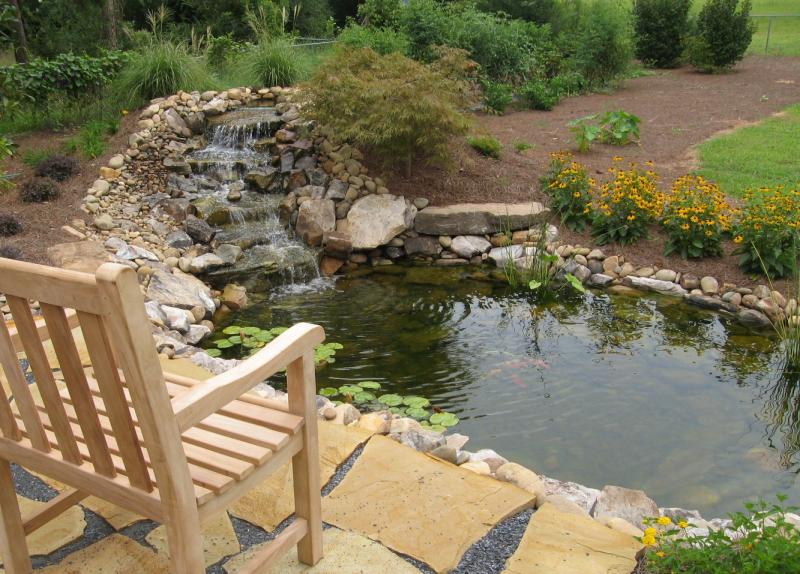 Small pond next to patio