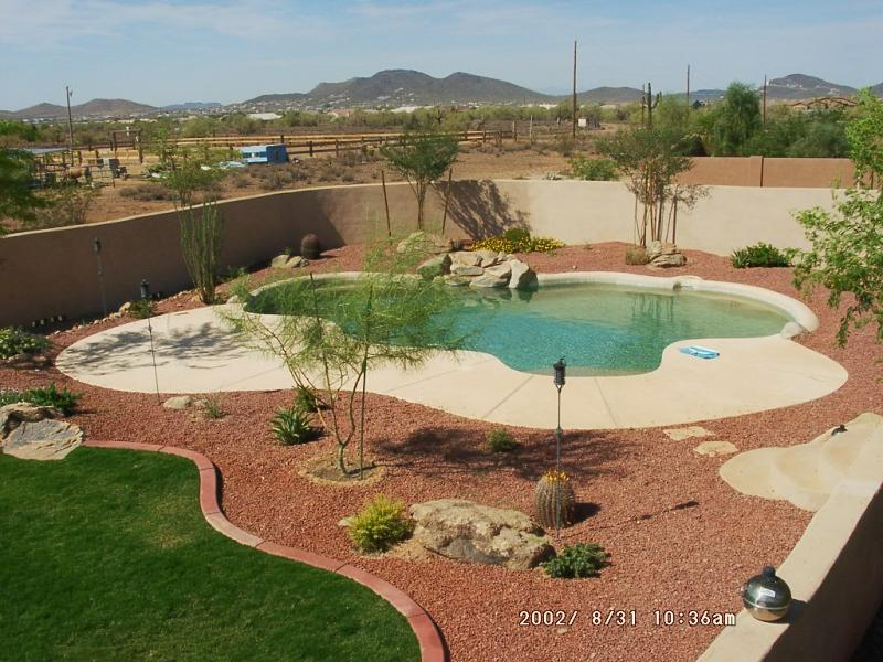 Deserts landscapes mulch around pools pools decks for Pool landscaping ideas