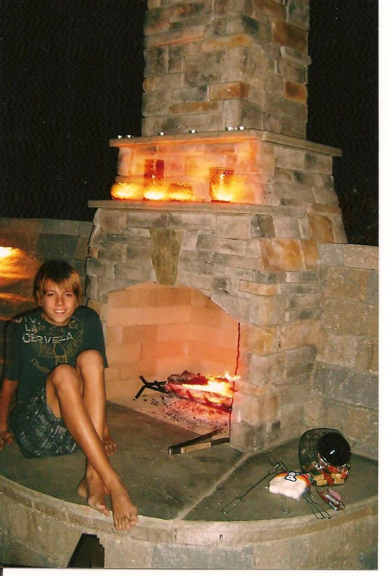 Outdoor Fireplace in Small Backyard