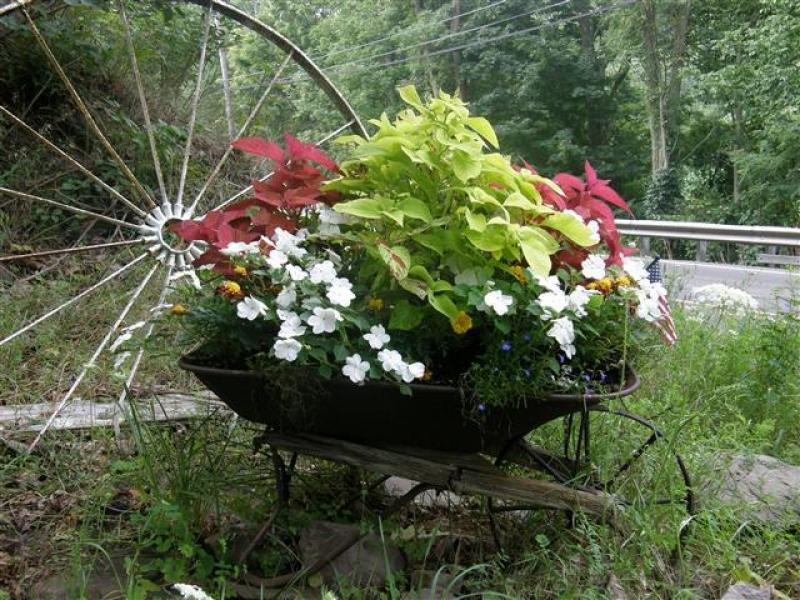 Wheelbarrow Flower Planter