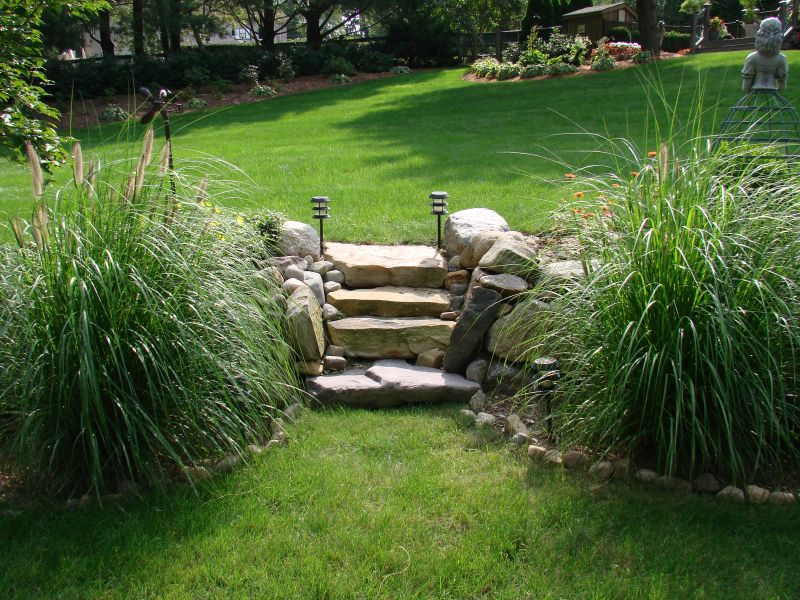 Stairs between garden areas