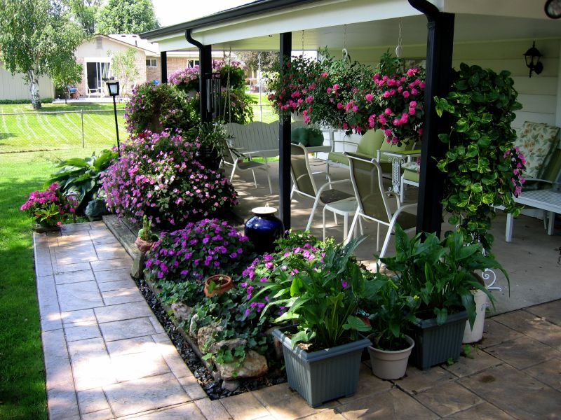 Patio planters fill in open spaces
