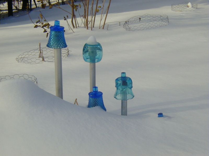 Inverted Blue Cups for Garden Art