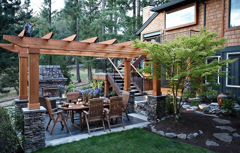 Patio and arbor creates a private setting