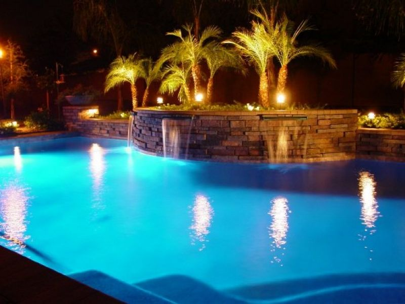 Pool Area Landscape at Night